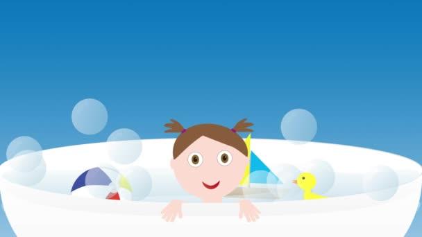 Malá roztomilá holčička v lázni s hračkami - člun, kachna a míč
