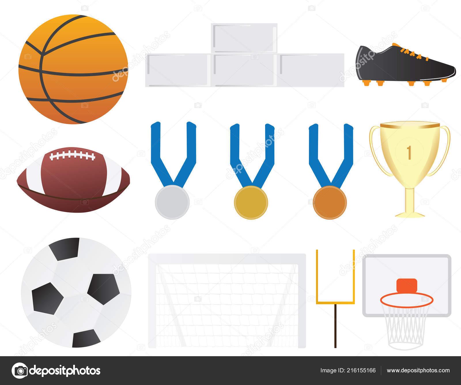 Equipe Esporte Elementos Clipart Conjunto Basquete Futebol Elementos Vetor  Futebol — Vetores de Stock ca580c491c301