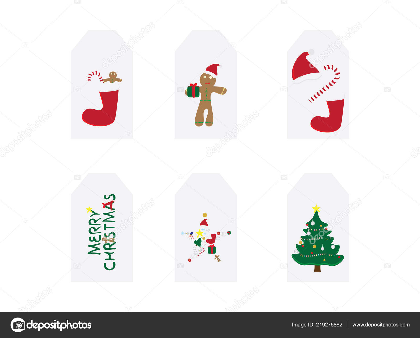 Set Christmas Cards Merry Christmas Card Vector Illustrations ...