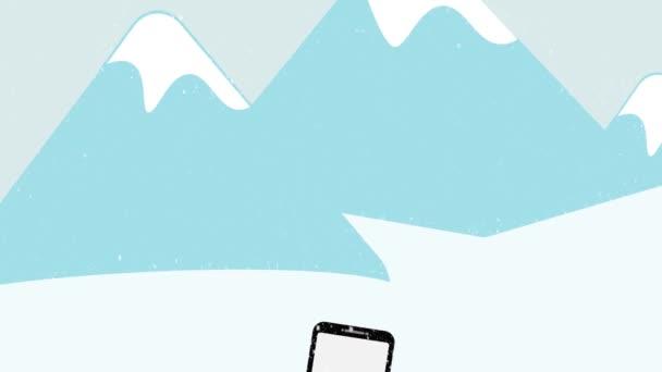 Téli eladás animáció, kezét piros ujjú gazdaság okostelefon eladó szöveg és a színes bevásárló táskák durran a piros gomb, kék hegyek snow háttérrel