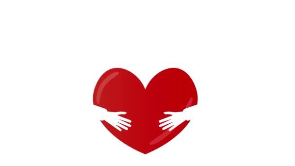 Weiße Hände Silluete auf rotes Herz und kleinen Herzen fliegen