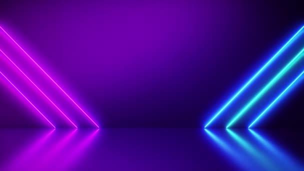 Neonové pozadí Abstraktní modré a růžové s úhlopříčkami řady Light Shapes na barevné a reflexní podlaze, párty a koncertní koncepci.
