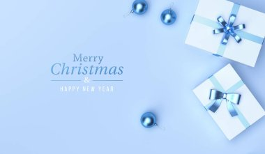 Gifts and christmas balls in top view on blue studio background. for greeting cards, design poster design and websites. 3D Rendering