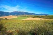 Fotografie Podzimní louka na Liptov pozadí na hory Kriváň a Baranec