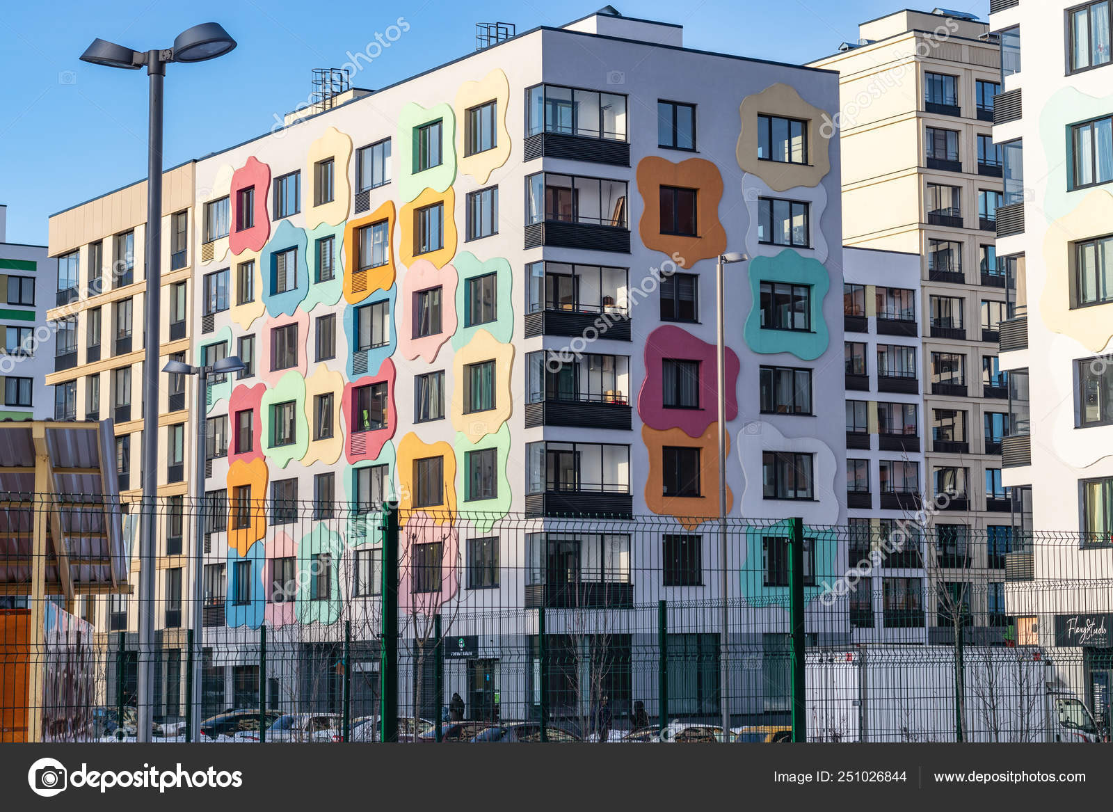 Modern apartment building with colorful facades on the ...
