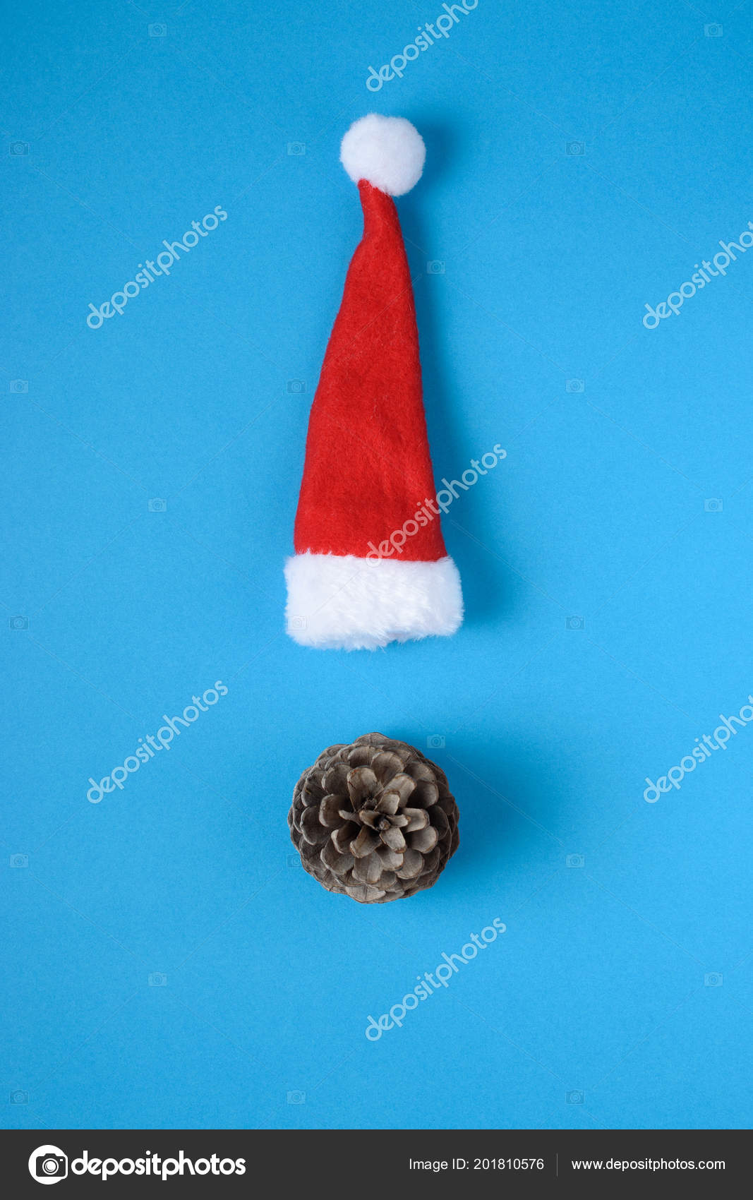 ed7f777677093 Miniature Santa Claus Hat Blue Background Christmas New Year Minimal —  Stock Photo