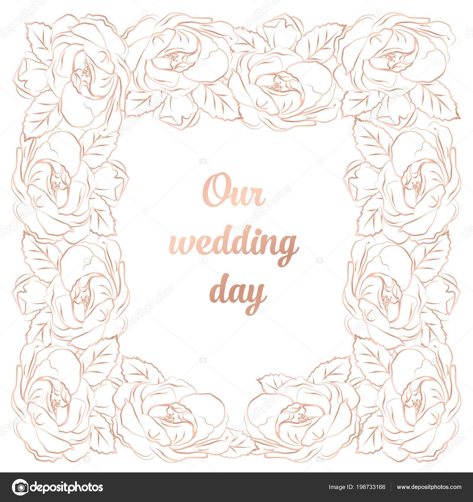 Intricate Baroque luxury wedding invitation card, rich rose gold ...