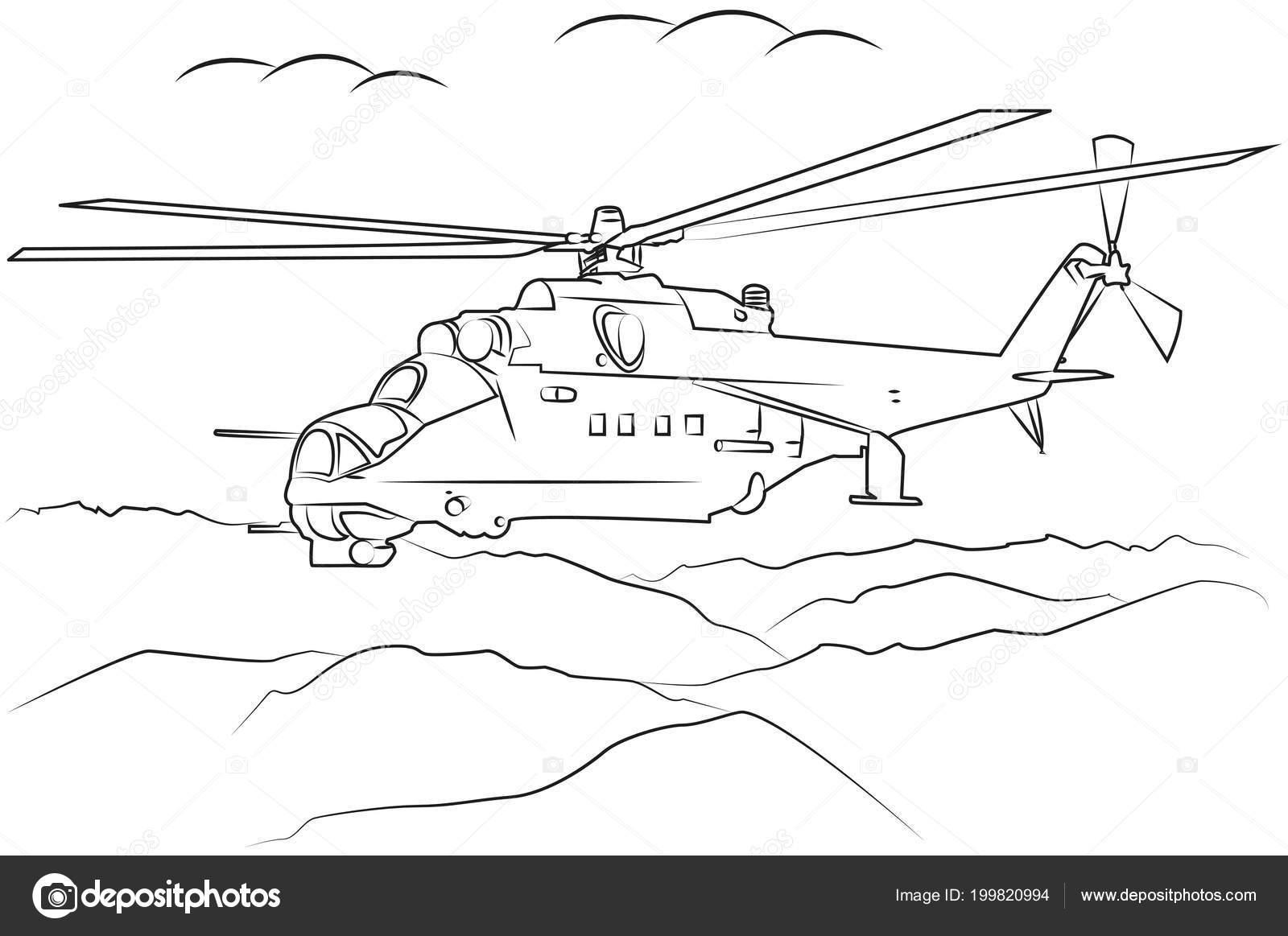 helicópteros militares volando entre las montañas en contorno negro ...