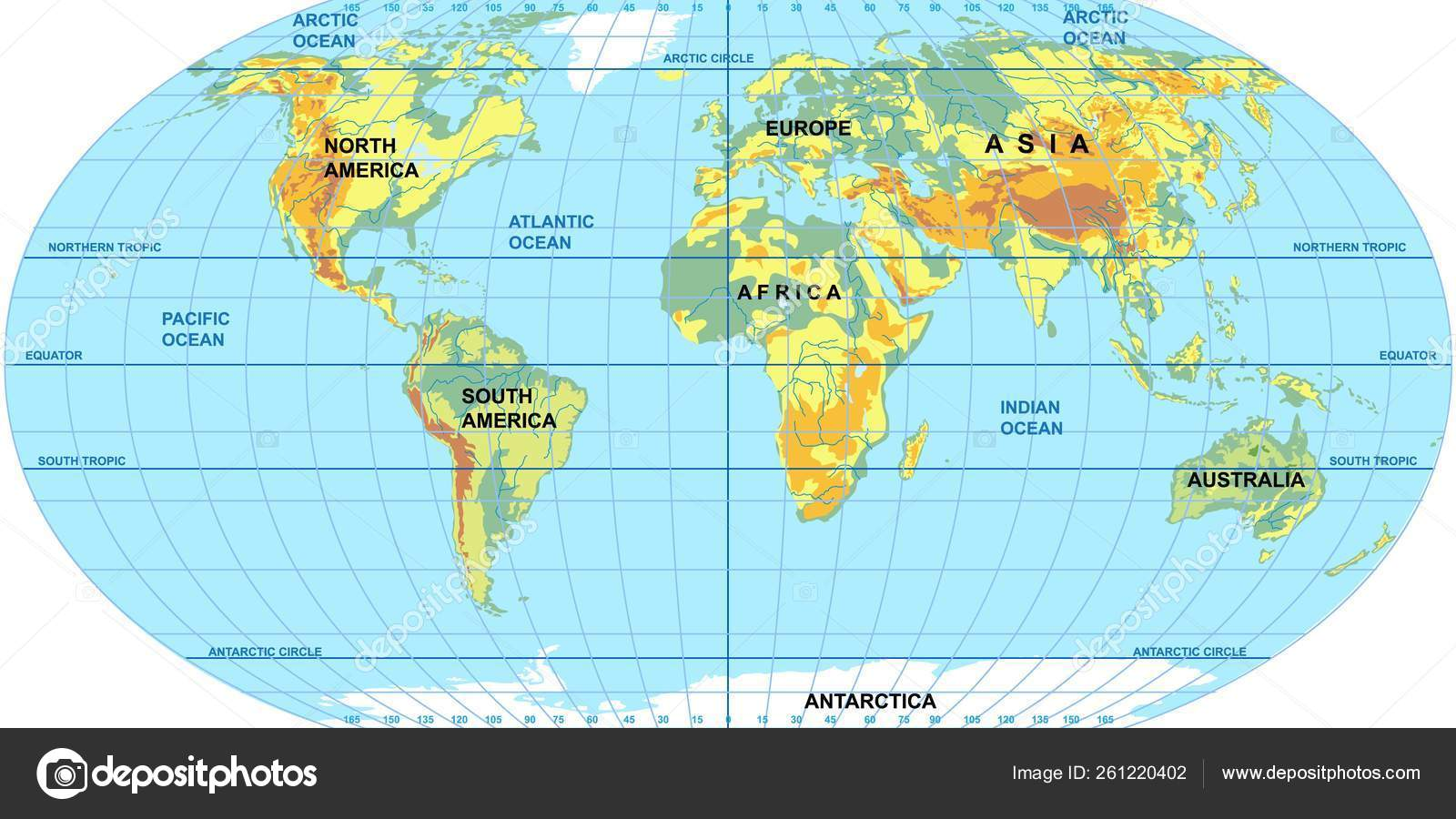 Vector map of the world. Oceans and continents on a flat ...