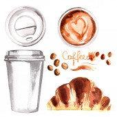 Fotografie Coffee to go a paper cup painted with watercolors on white backg