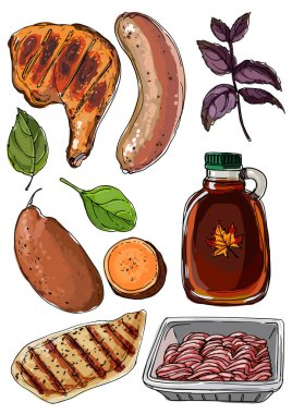 Food drawn by a line on a white background. Products. Chicken ham, sausage, basil, sweet potato, chicken breast, minced meat, maple syrup