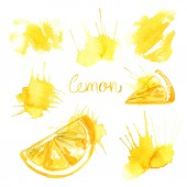 Fotografie Lemon painted with watercolors on white background. Colored watercolor fruit, lemon banana yellow stains Abstract paint splashes