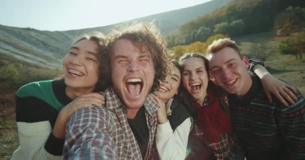 Selfie video for a big group of friends on the trip , taking some video for memories beautiful landscape of nature.