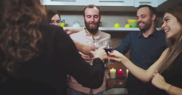 Good looking young group of multi ethnic people have a party time the cheers with wine glasses smiling large and feeling good. 4k