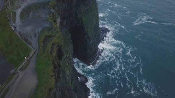 View landscape cliffs of moher capturing video of a drone from the air in amazing evening day.