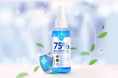 Hand sanitizer spray 75% alcohol components, kill up to 99.99% of covid-19 viruses, bacteria and germs on a blurred light blue background. Pack in clear plastic bottles used to spray.Realistic file. icon