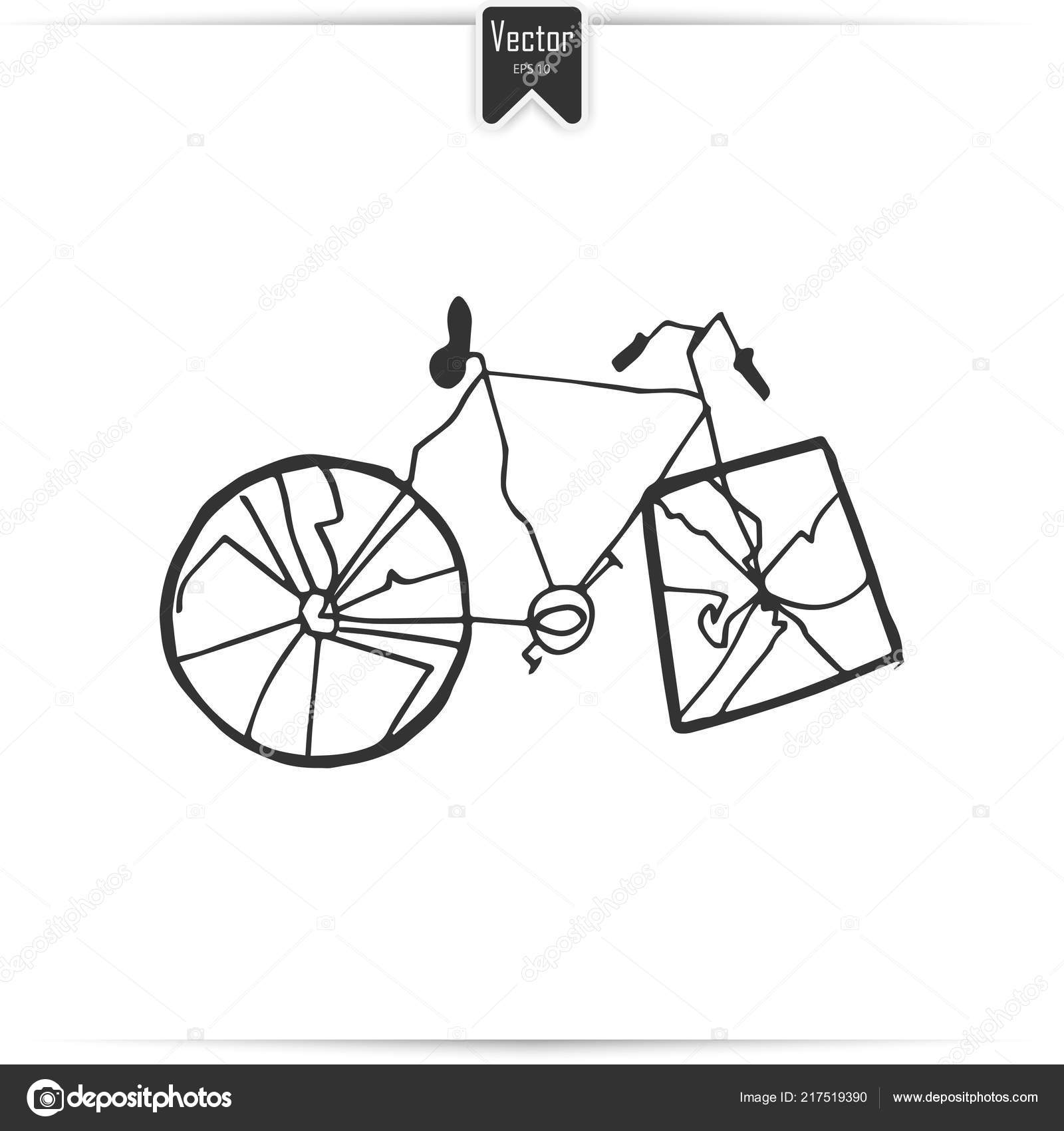 Pencil drawing broken bicycle vector image stock photo