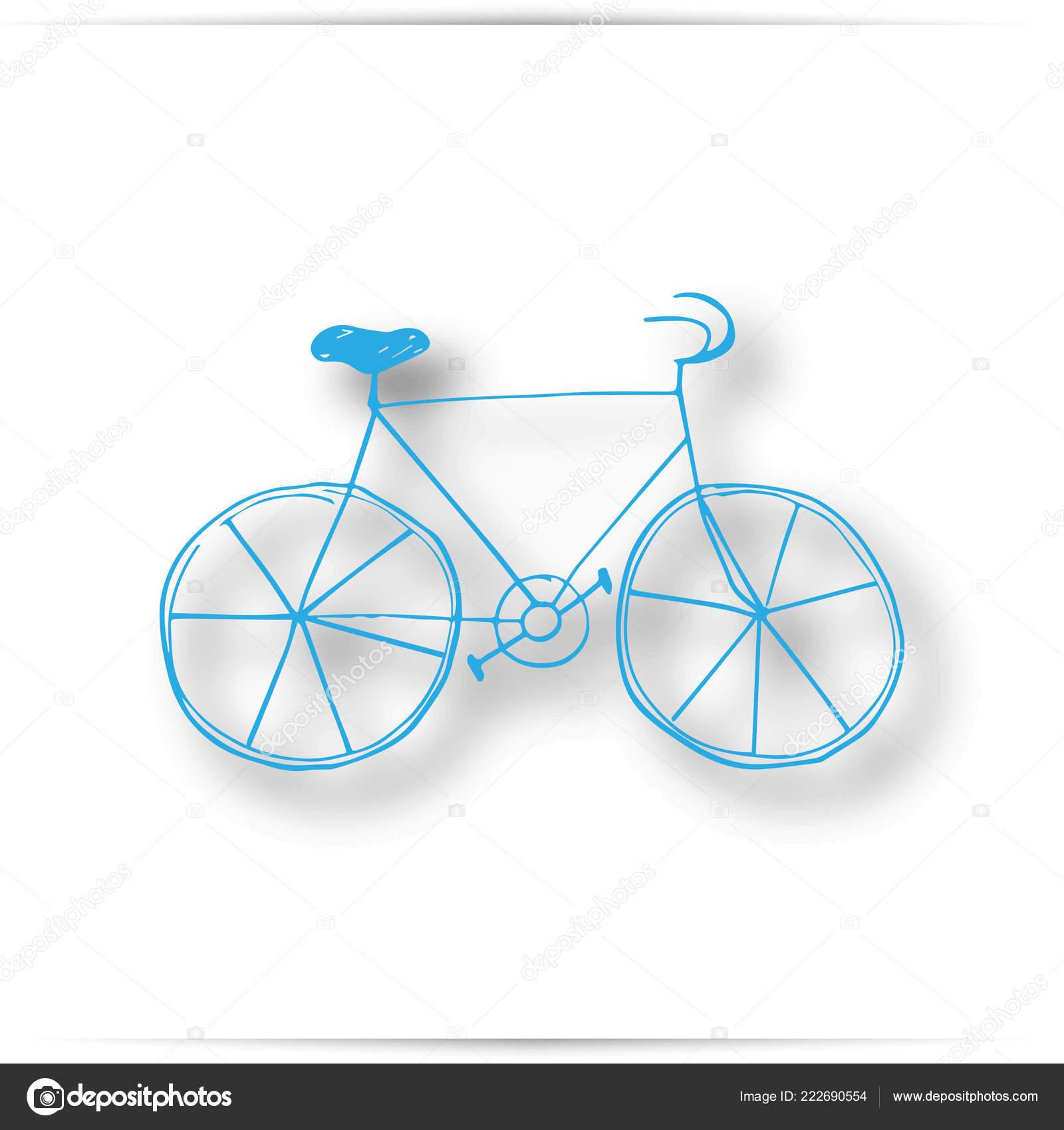 b12c73553c5 Vintage road bicycle hand drawn illustration. isolated on white background  — Stock Photo
