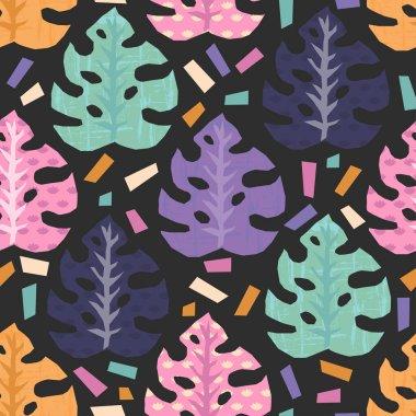 """Картина, постер, плакат, фотообои """"векторный бесшовный рисунок с тропическими листьями джунглей. все объекты удобно сгруппированы и легко редактируются """", артикул 198029690"""