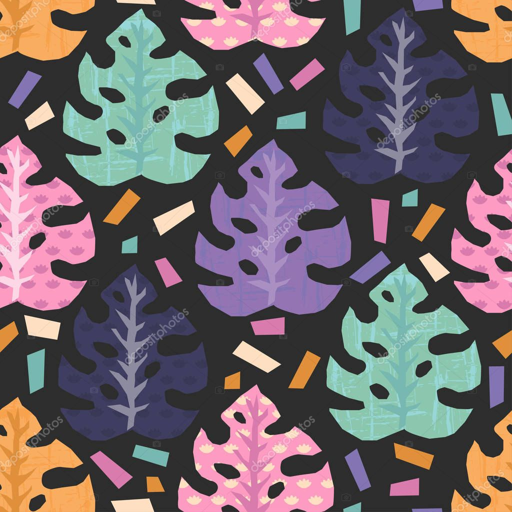 Vector seamless pattern with tropical jungle leaves. All objects are conveniently grouped and easily editable