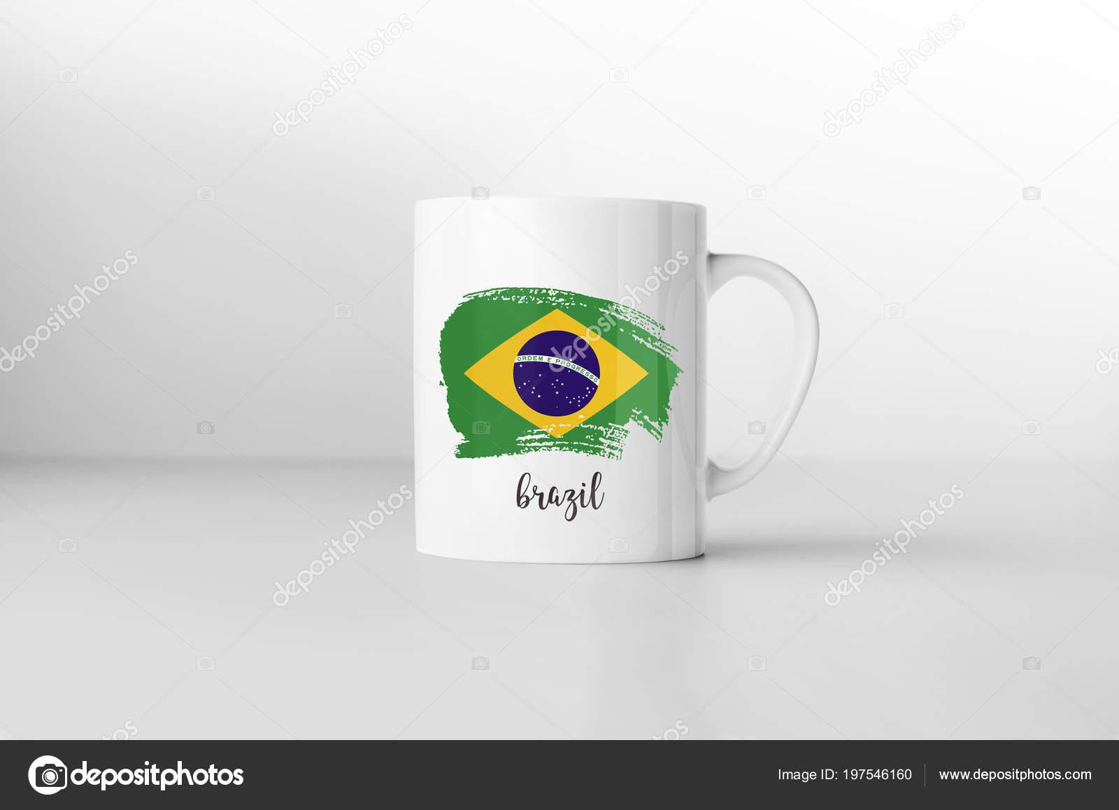 Abstract Brazil Flag Brasil Mug Artistic Souvenir Cup Gift