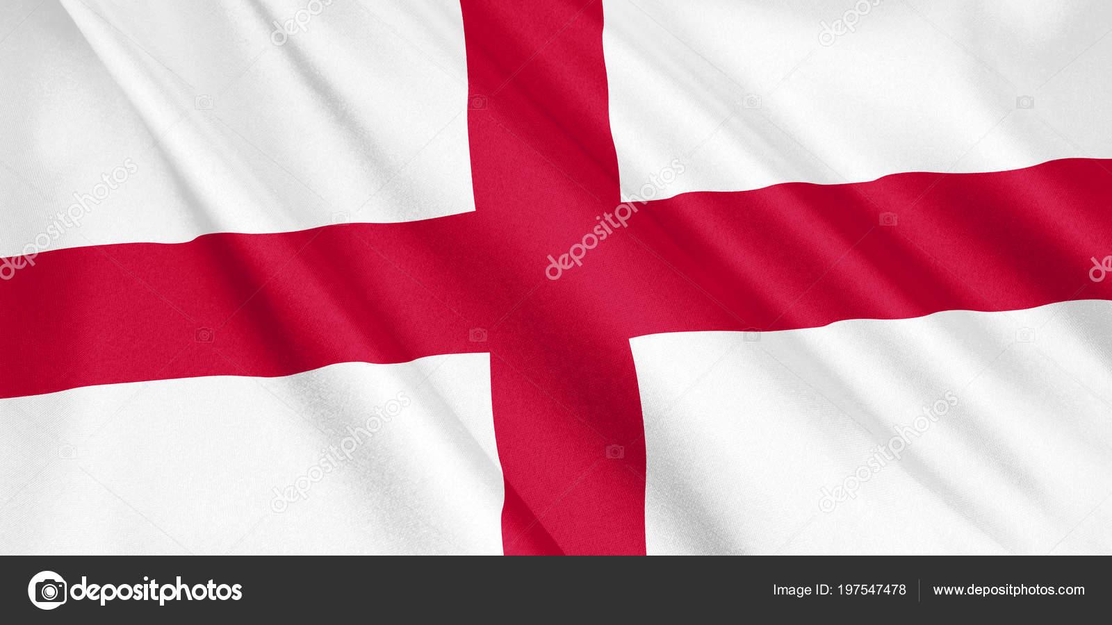 Engelse Vlag Zwaaien Met Wind Grootformaat Illustratie