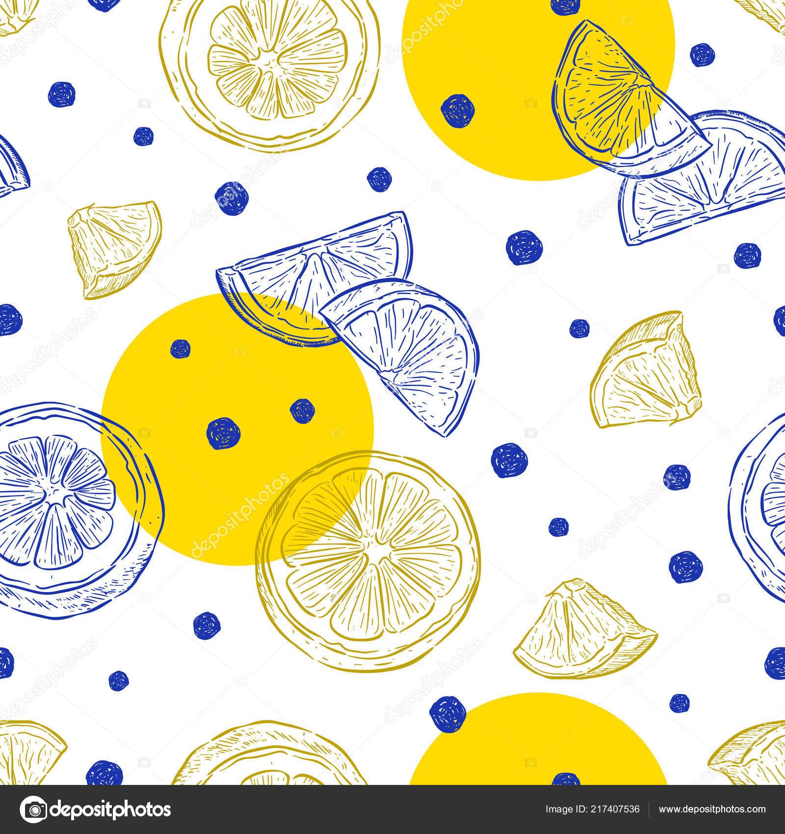 Cerstve Citrony Pozadi Rucne Kreslene Barevny Vzor Bezesve Cerstveho