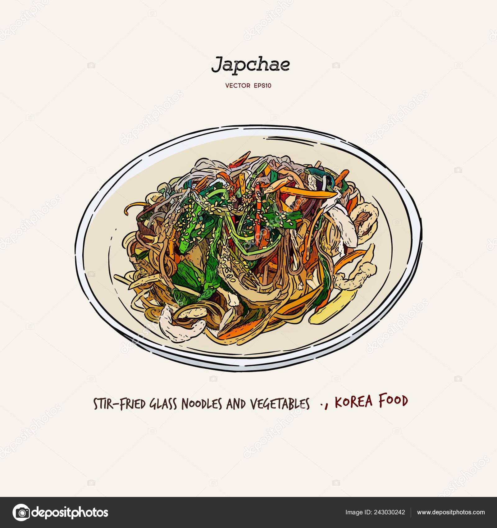 Stir Fried Glass Noodles Vegetables Japchae Korea Food Hand Draw