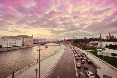 Beautiful view of sunset on Moscow River .