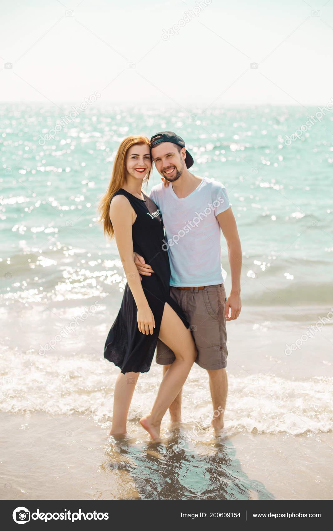 Young Couple Posing Water Beach Stock Photo C Alexander Margo Photo 200609154