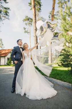 young beautiful couple bride and groom are walking in the park at sunset and smiling bride  beautiful dress the groom is dressed stylishly