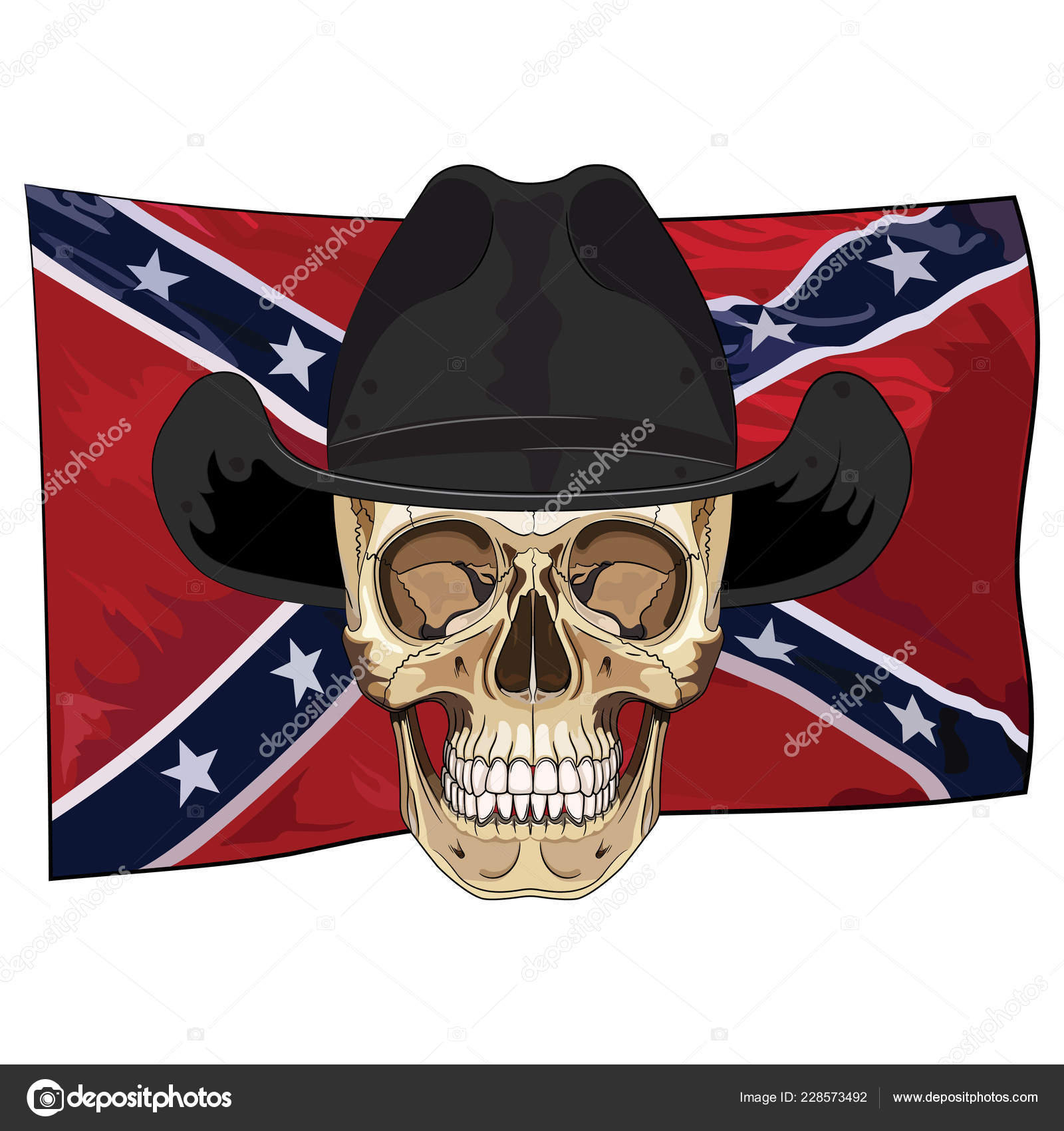 f90d525cf43 Skull Cowboy Hat Background American Confederate Flag Isolated White Vector  — Stock Vector