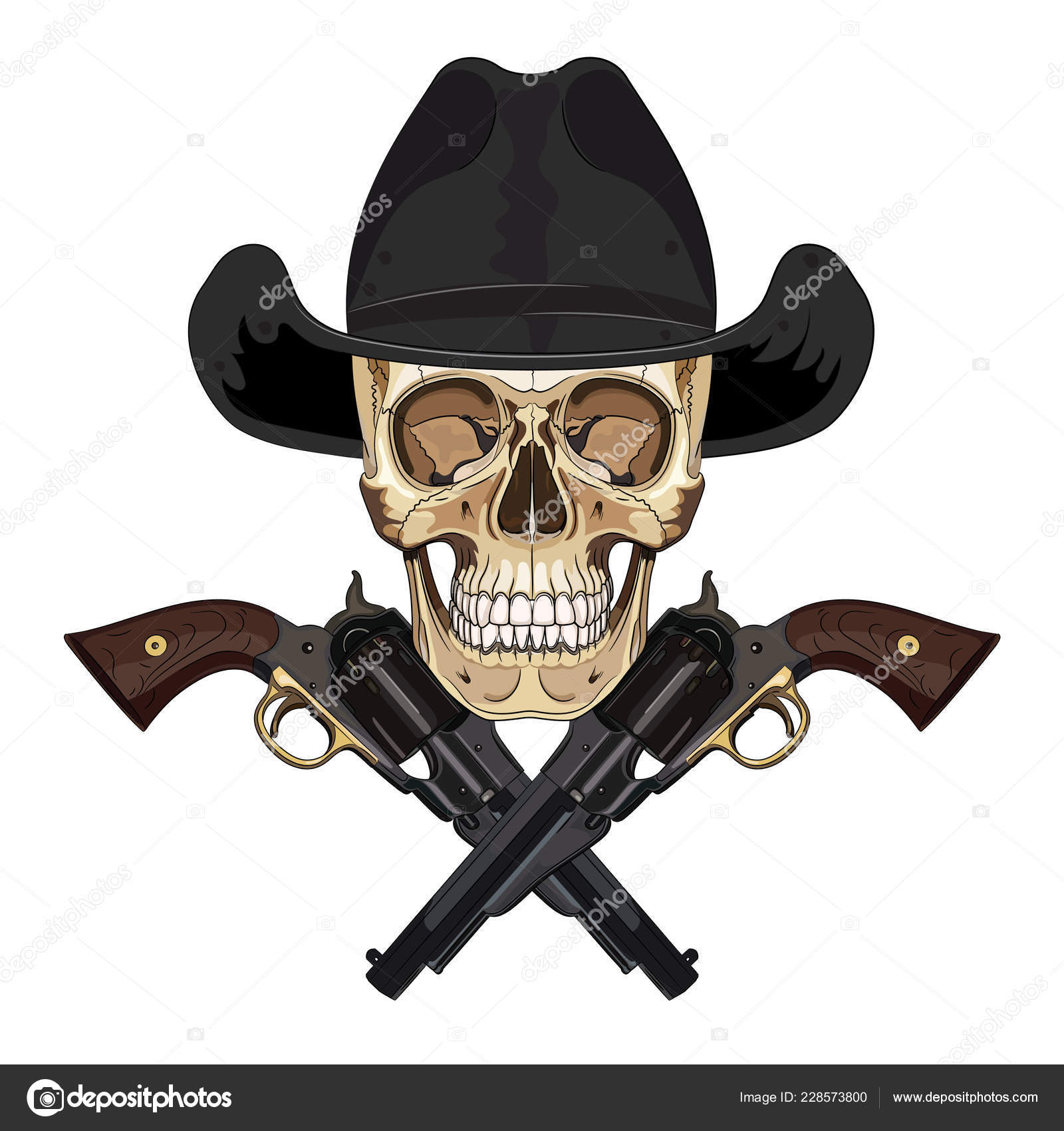 Skull Cowboy Hat Two Crossed Gun Isolated White Vector Illustration — Stock  Vector 7ff5d3f84bf0