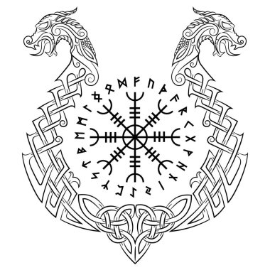 Aegishjalmur, Helm of awe (helm of terror), Icelandic magical staves and the Scandinavian pattern in the form of a dragon boat, drakkar, isolated on white, vector illustration
