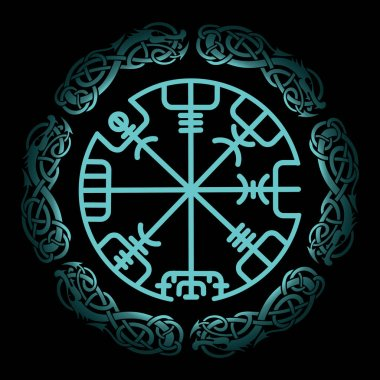 Vegvisir, the Magic Navigation Compass of ancient Icelandic Vikings with scandinavian ornament, vector illustration