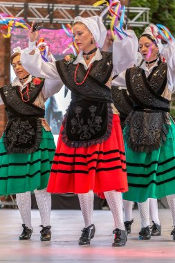 ROMANIA,TIMISOARA-JULY 7,2017:Group of women dancers from Spain in traditional costume present at the international folk festival INTERNATIONAL FESTIVAL OF HEARTS organized by the City Hall Timisoara.
