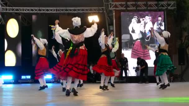 TIMISOARA, ROMANIA - JULY 7, 2018: Spanish dancers in traditional costume, perform folk dance during
