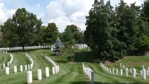 ARLINGTON, VIRGINIA, USA - AUGUST 31, 2018: View of Arlington National Cemetery with rows of tombstones. A vast cemetery in  honors of veterans, Virginia, USA.