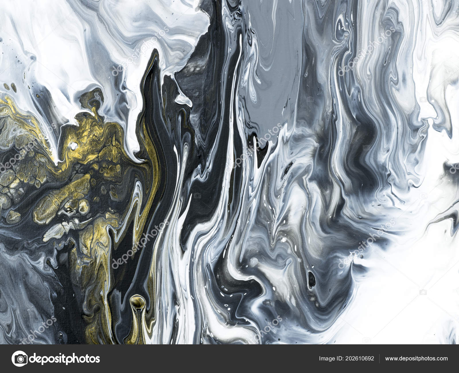 Black White Gold Marble Abstract Hand Painted Background Close Acrylic Stock Photo C Artlu 202610692