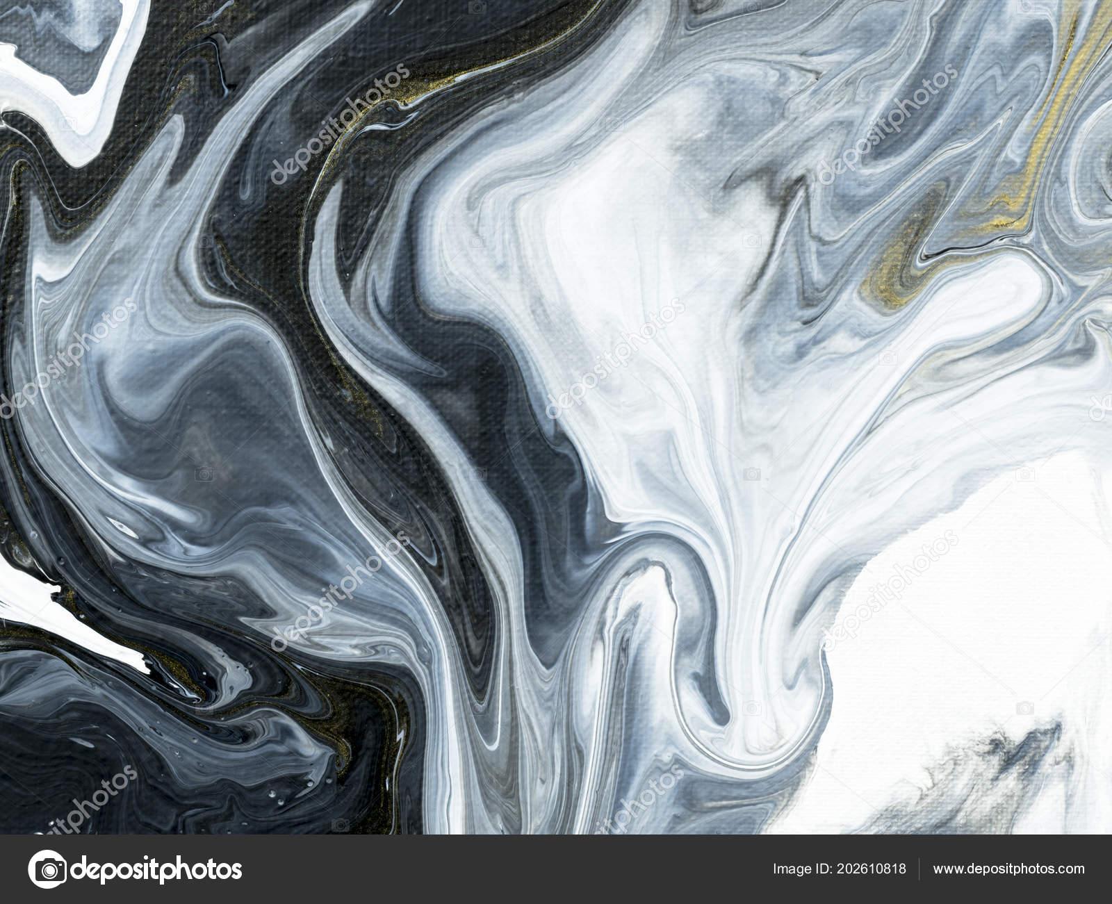 Bianco Nero Con Oro Marmo Mano Astratto Dipinto Sfondo Primo Foto