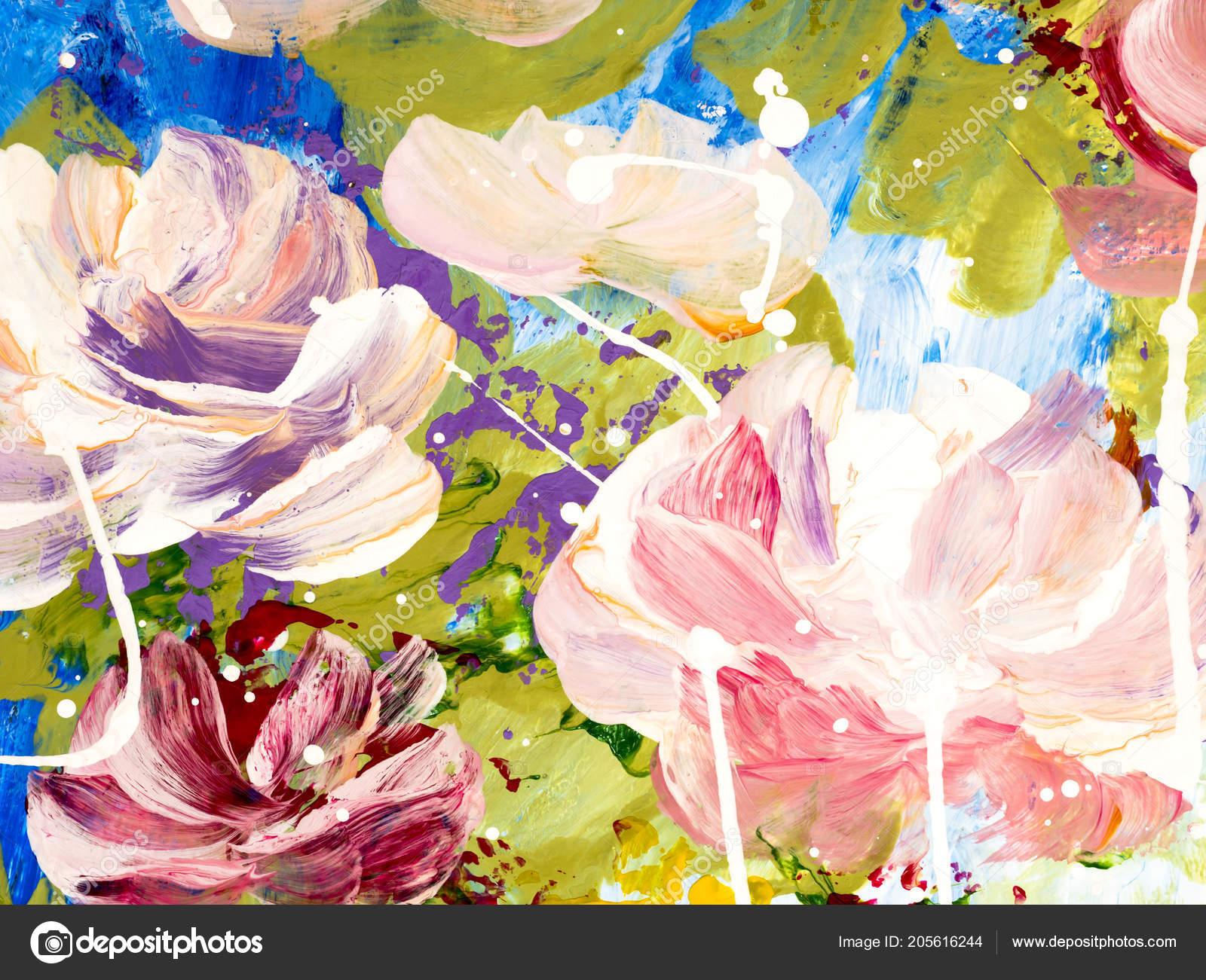 Fleurs Abstraites Main Fond Peint Gros Fragment Peinture Acrylique