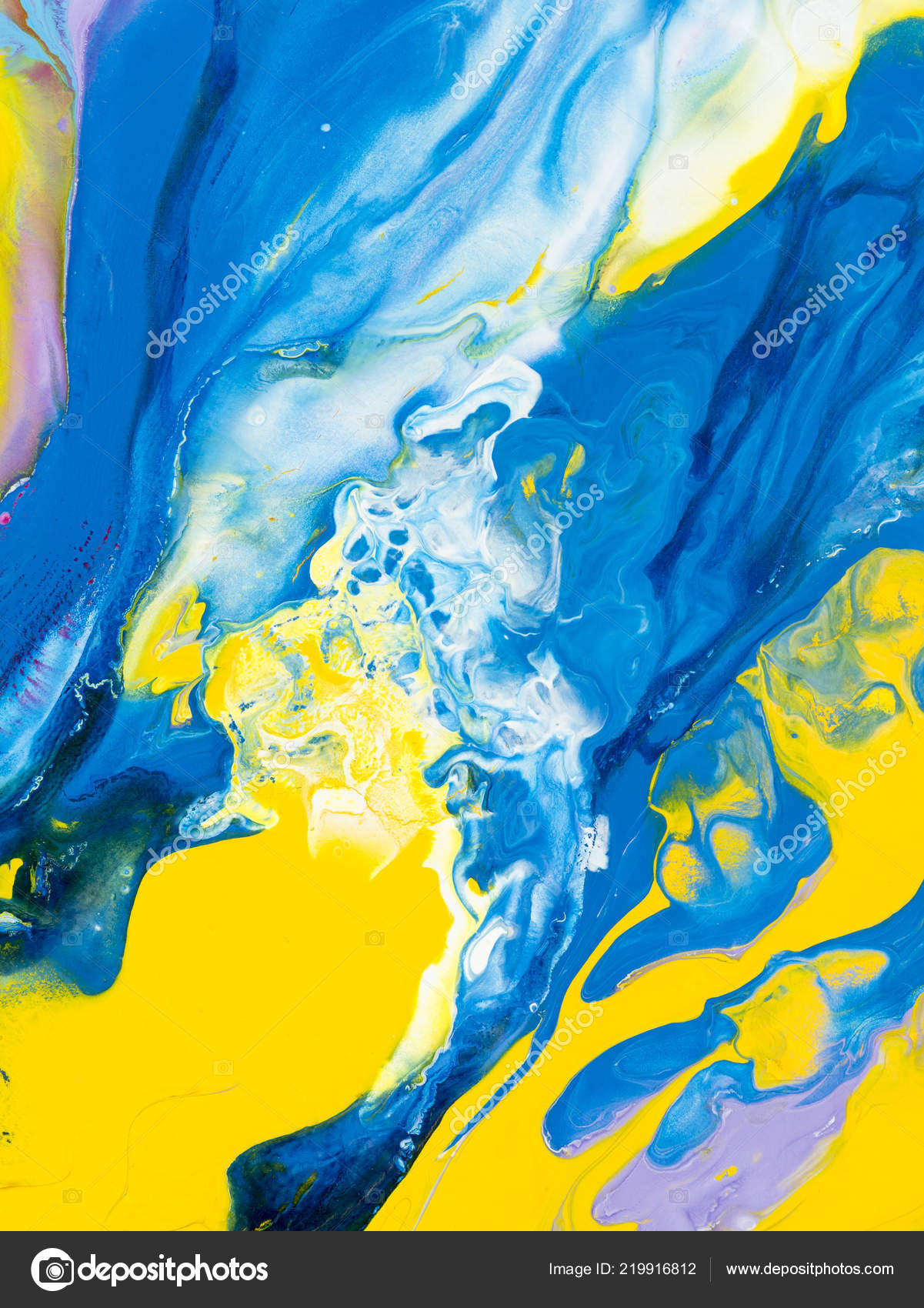 Blue Yellow Creative Abstract Hand Painted Background Fragment Acrylic Painting Stock Photo C Artlu 219916812