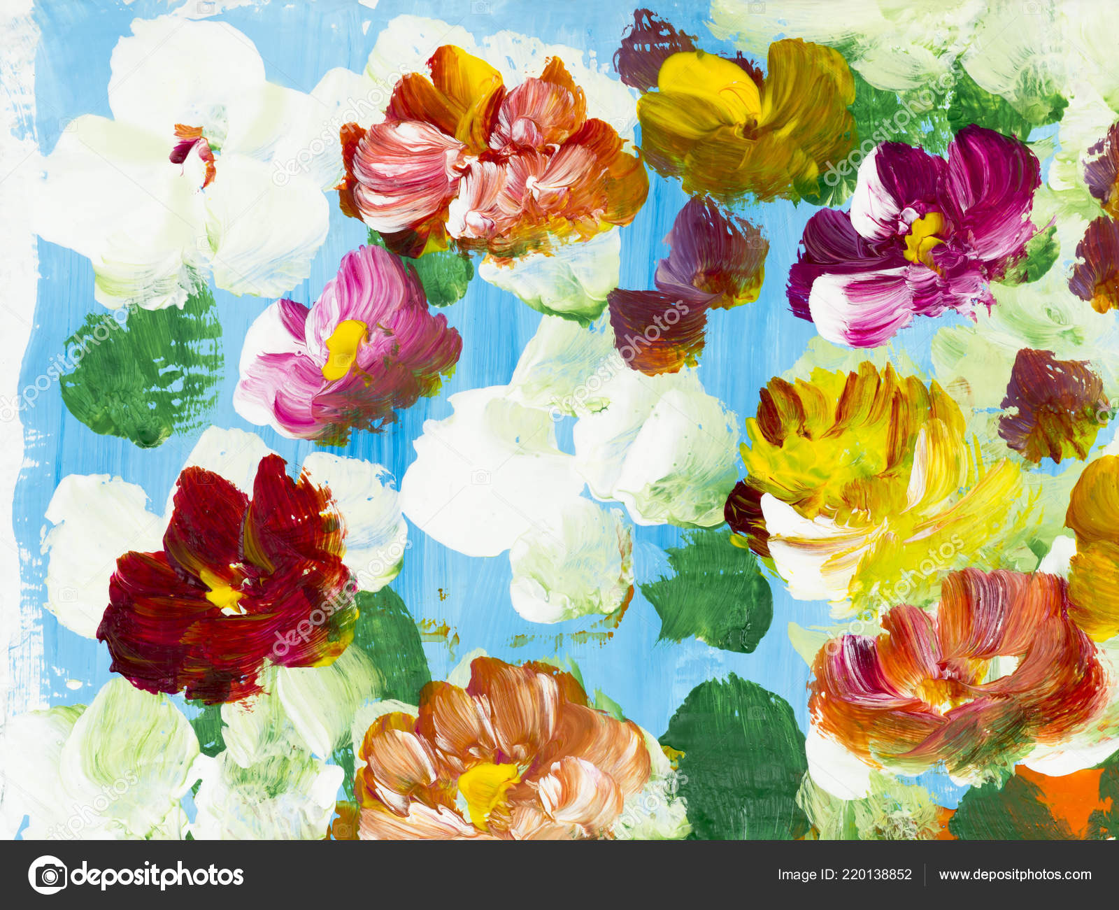 Fleurs Colorées Abstraites Main Peint Fond Fragment Peinture