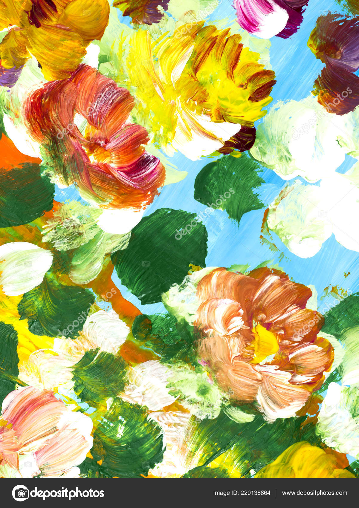 Flower Hand Painting Abstract Colorful Flowers Hand Painted
