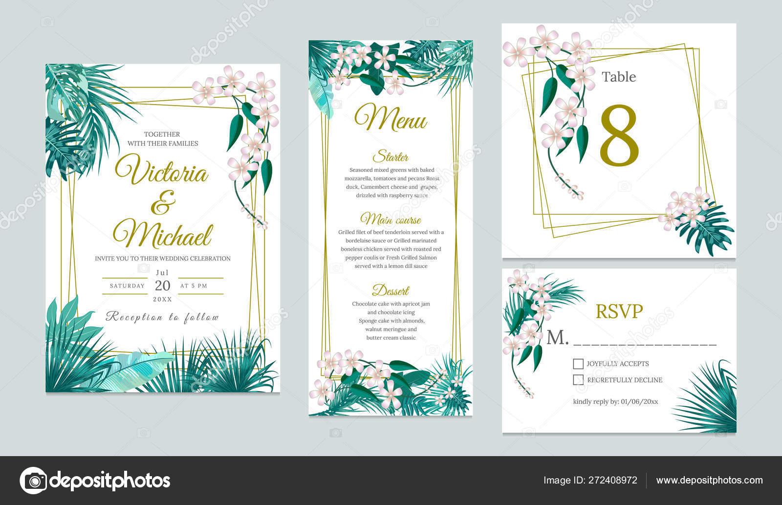 Wedding invitation card design, floral invite. — Stock Vector © artlu  #272408972