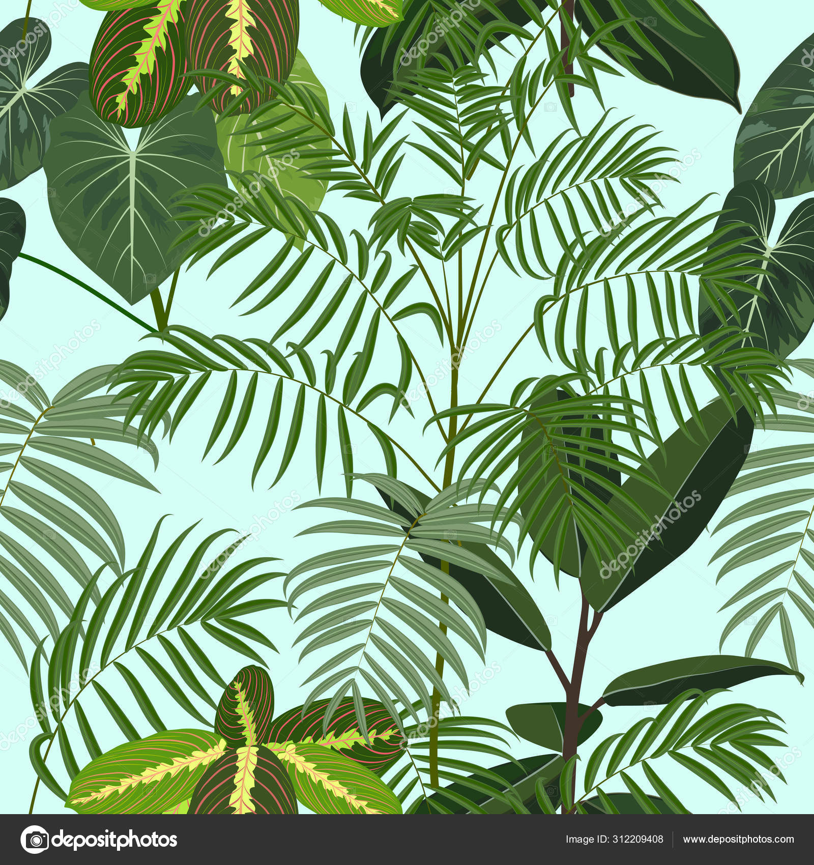 Tropical Jungle Palm Leaves Seamless Pattern Vector Background Stock Vector C Artlu 312209408 Find images of tropical leaves. depositphotos