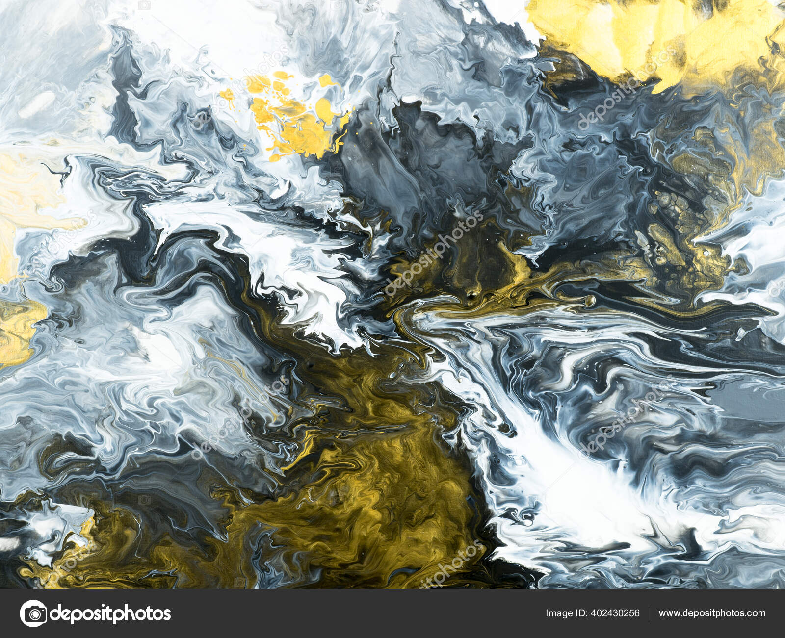 Black White Gold Creative Abstract Hand Painted Background Marble Texture Stock Photo C Artlu 402430256