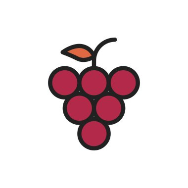 Grape Icon Vector Illustration in Filled Style for Any Purpose
