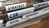 3D illustration of a folder and focus on a tab with the acronym CSR, Corporate Social Responsibility. Conceptual image.