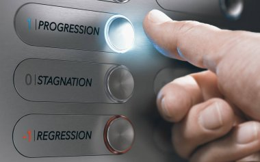 Man pushing an elevator button where it is written he words progression, stagnation and regression. Successful life choice or career advancement concept. Composite image between a hand photography and a 3D background.